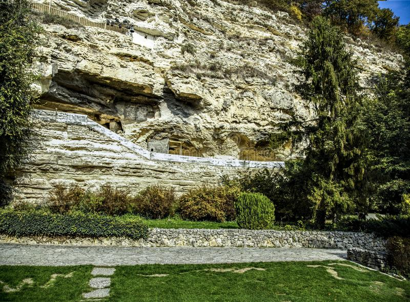 Original appearance of monastery is in a rock. stock photos