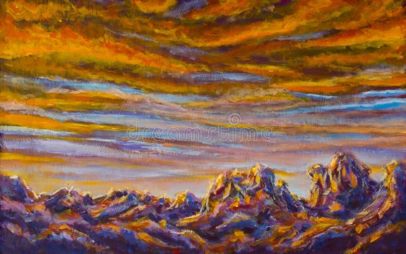 Original- bakgrund för landskapet för purpurfärgade berg för målning - göra mellanslag den stjärnklara himmel- och bergreflexione royaltyfri illustrationer