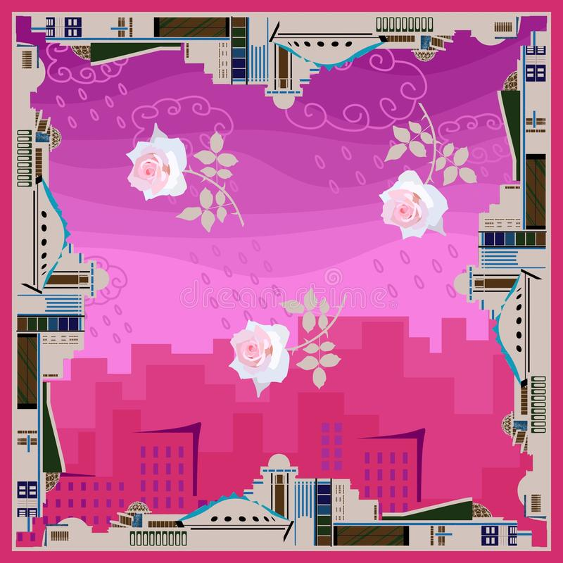Original bandana print with border from conceptual buildings and tender rose flowers in the center on pink background of cityscape. Shawl or scarf for stock illustration