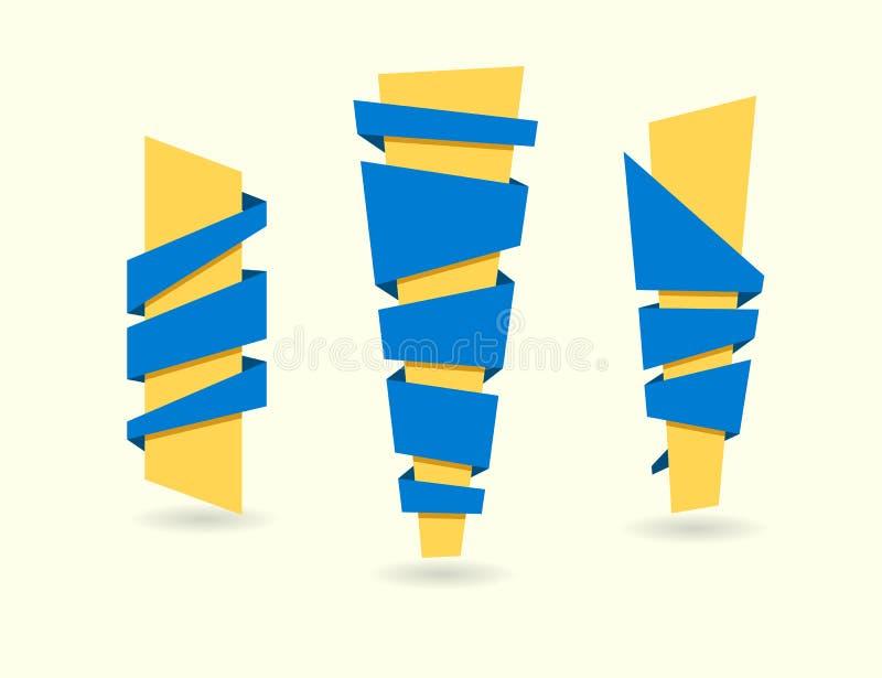 Original- banduppsättning också vektor för coreldrawillustration Bandbaner blått y royaltyfri illustrationer