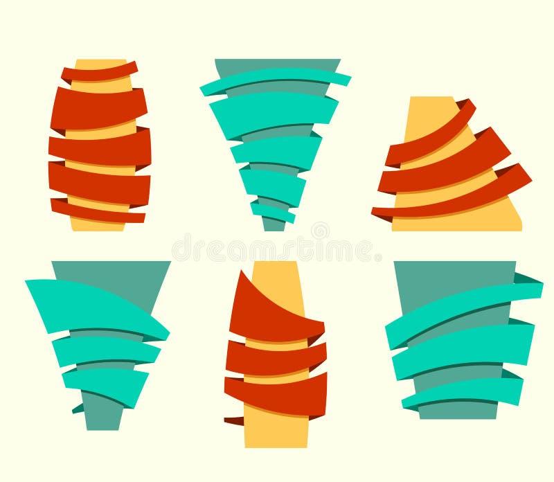 Original- banduppsättning också vektor för coreldrawillustration Bandbanercolorf royaltyfri illustrationer