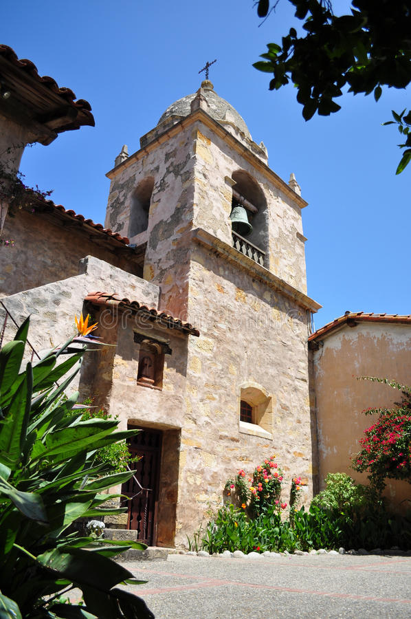original bell tower at mission san carlos borromeo stock. Black Bedroom Furniture Sets. Home Design Ideas