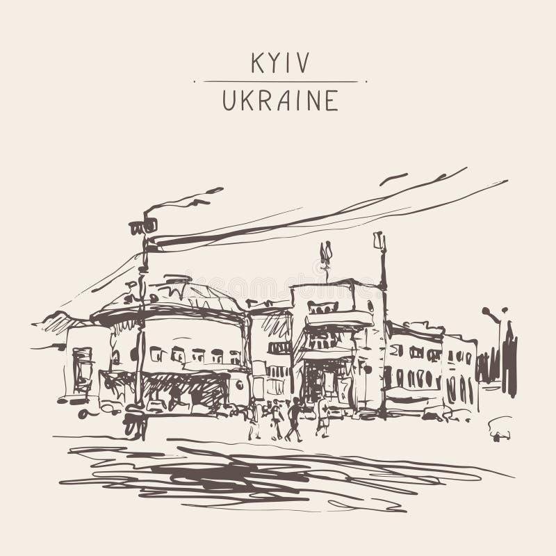 Original black and white digital sketch of Kyiv, Ukraine town la vector illustration