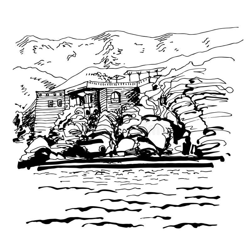 Original black and white sketch drawing of Sveti Stefan island vector illustration