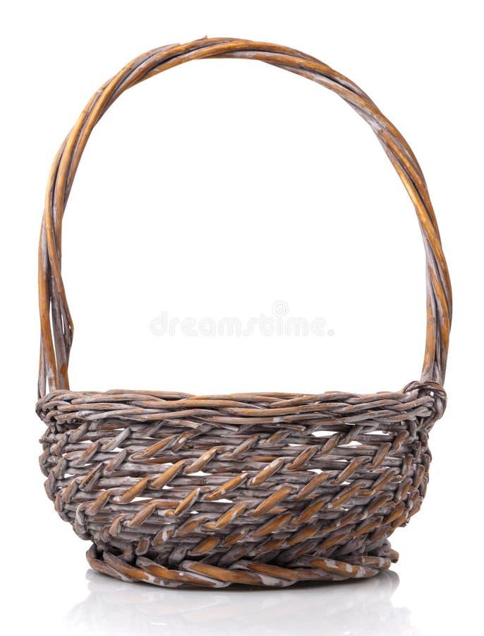 Original blank wicker basket isolated on white stock image