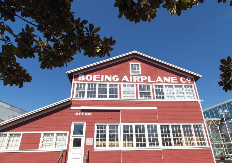 Original Boeing airplane building stock photo