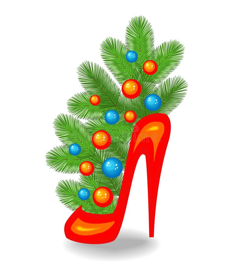 An original bouquet of Christmas tree branches. It is placed in a female red shoe. Traditional symbol of the New Year. Decorated stock illustration