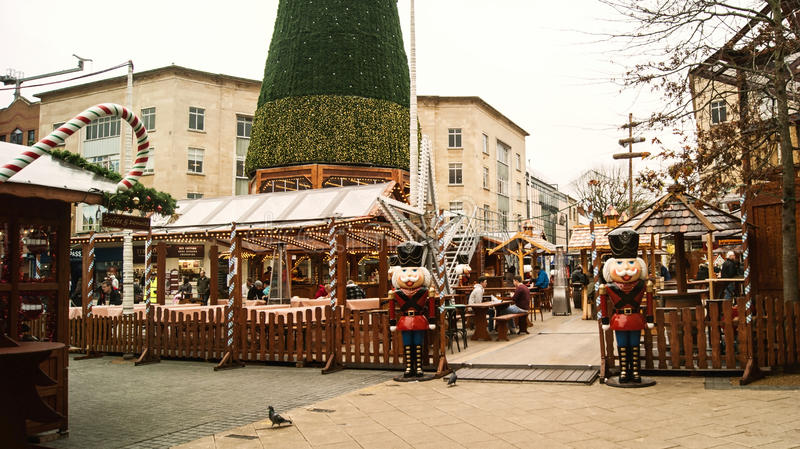 The original Bristol's German Christmast market. Bristol, UK - November 9, 2015: Entry of a beer garden in the 7th German Christmas Market in Broadmead, Bristol stock images