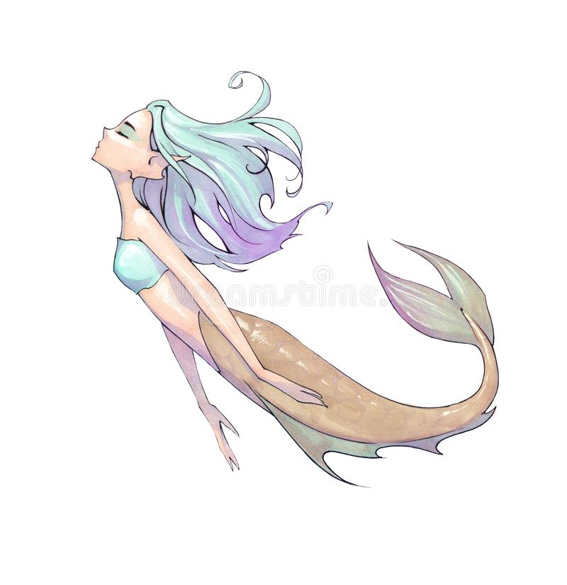 Original cartoon hand drawn fantasy illustration of a beautiful mermaid. With blue long hair floating as she swims royalty free illustration