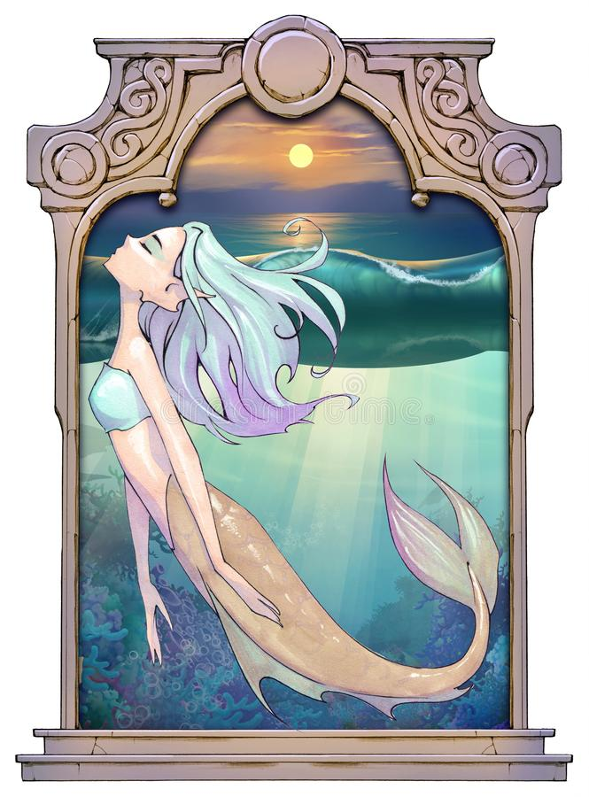 Original cartoon hand drawn fantasy illustration of a beautiful mermaid. With blue long hair floating as she swims vector illustration