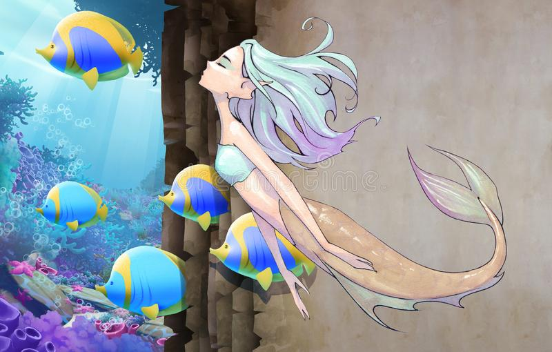 Original cartoon hand drawn fantasy illustration of a beautiful mermaid. With blue long hair floating as she swims stock illustration