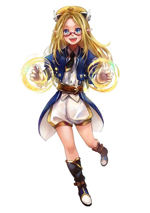 Original character design of fantasy female elf girl sorcerer stock illustration