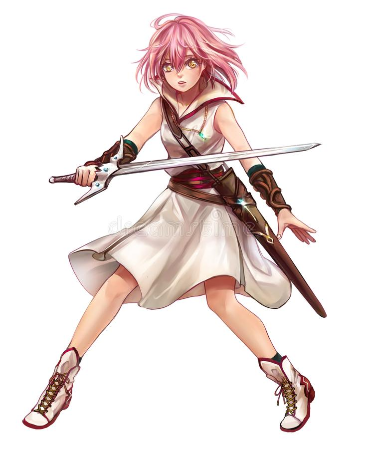 Cute original character design of fantasy female girl warrior or swordswoman magic fencer knight named Lenaria in Japanese manga. Illustration style with stock illustration