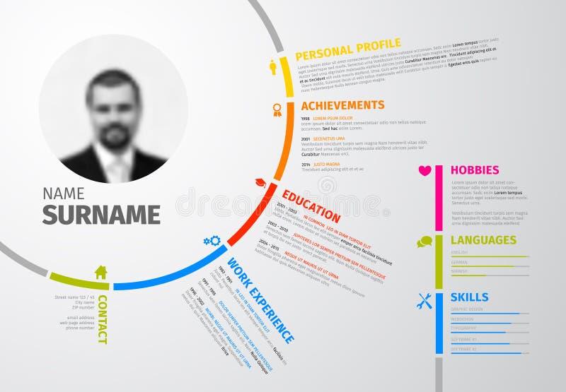 Original circular resume template. Vector original minimalist cv / resume template - creative version royalty free illustration