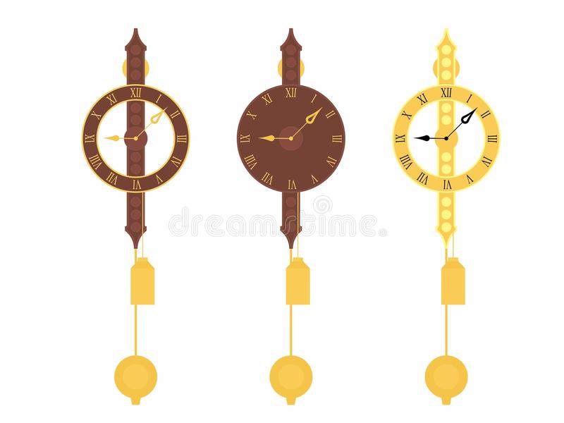 Original clásica del reloj de la pared coloreada ilustración del vector