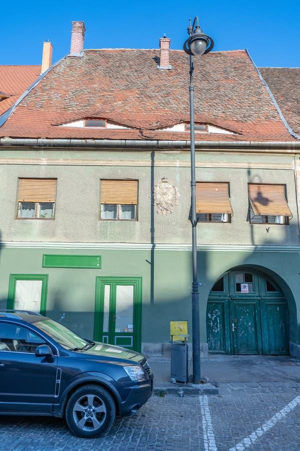 Original clay roof architecture in Sibiu, Romania stock images