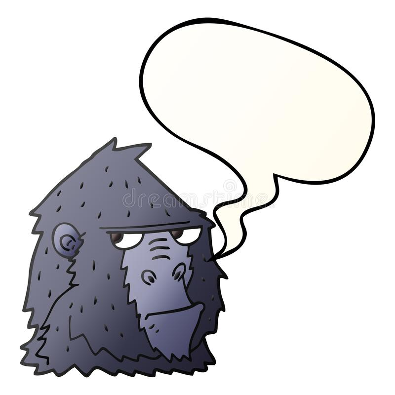 A creative cartoon angry gorilla face and speech bubble in smooth gradient style royalty free illustration