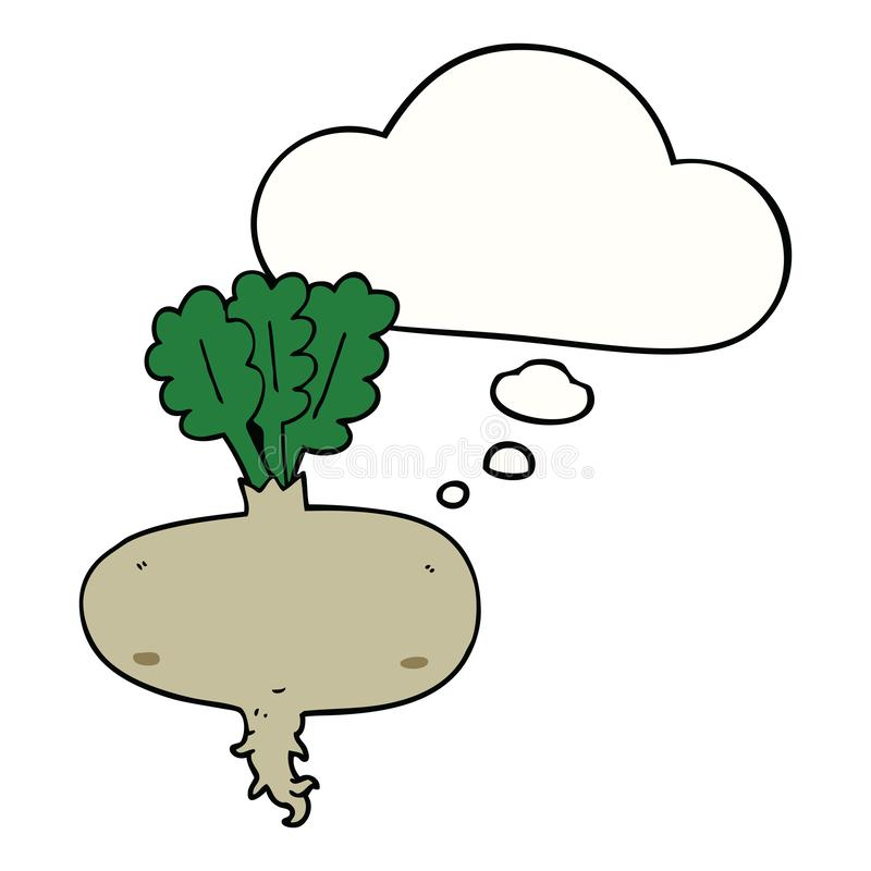 A creative cartoon beetroot and thought bubble. An original creative cartoon beetroot and thought bubble stock illustration