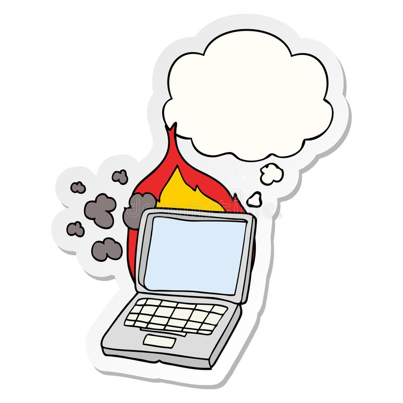 A creative cartoon broken laptop computer and thought bubble as a printed sticker vector illustration