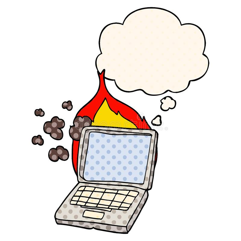 A creative cartoon broken laptop computer and thought bubble in comic book style vector illustration