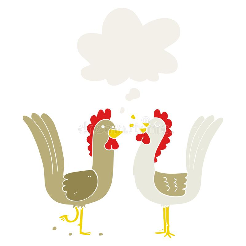 A creative cartoon chickens and thought bubble in retro style vector illustration