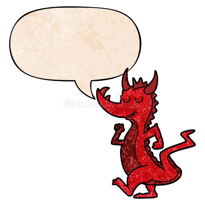 A creative cartoon cute dragon and speech bubble in retro texture style royalty free illustration