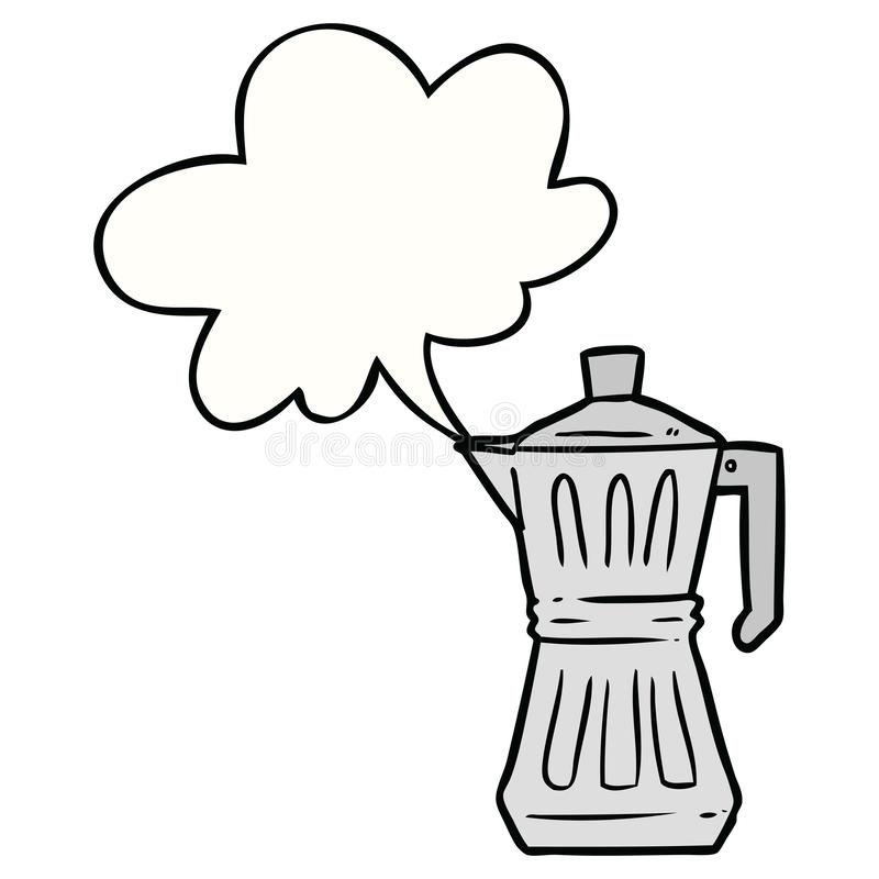 A creative cartoon espresso maker and speech bubble. An original creative cartoon espresso maker and speech bubble stock illustration