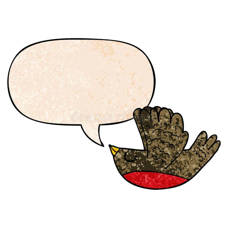 A creative cartoon flying bird and speech bubble in retro texture style. An original creative cartoon flying bird and speech bubble in retro texture style vector illustration