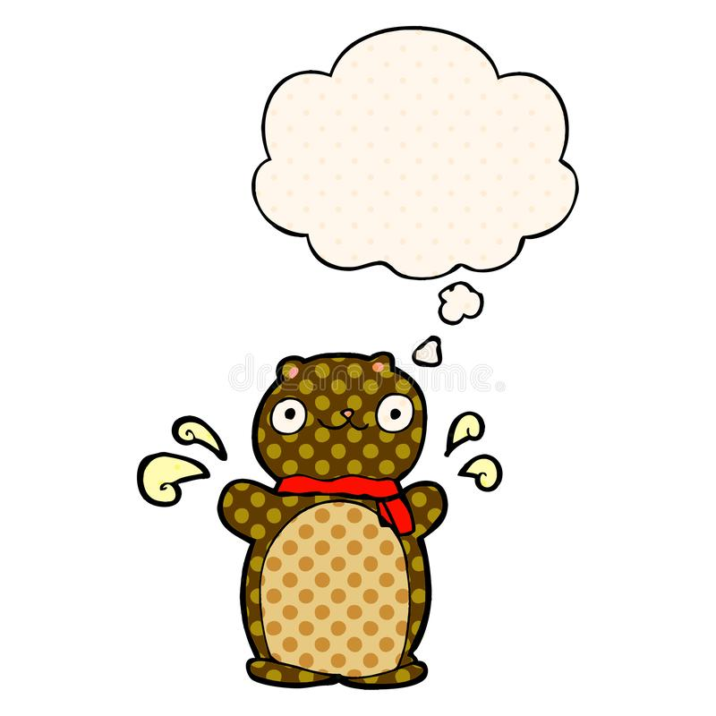 A creative cartoon happy teddy bear and thought bubble in comic book style. An original creative cartoon happy teddy bear and thought bubble in comic book style royalty free illustration