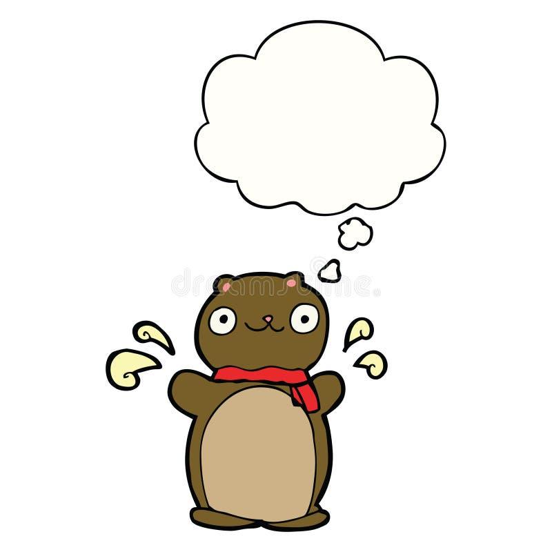 A creative cartoon happy teddy bear and thought bubble. An original creative cartoon happy teddy bear and thought bubble stock illustration