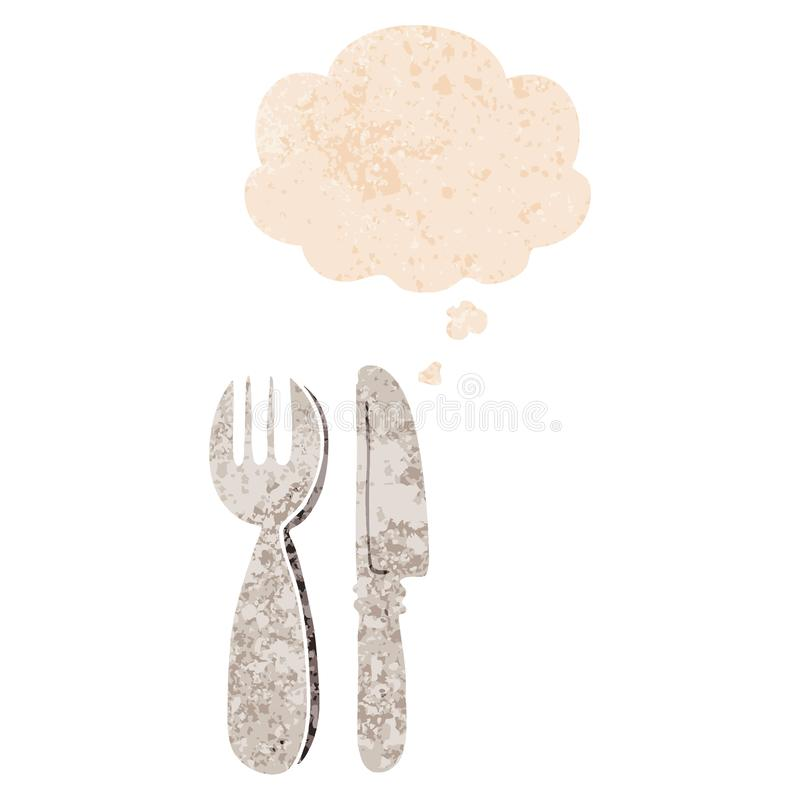 A creative cartoon knife and fork and thought bubble in retro textured style stock illustration