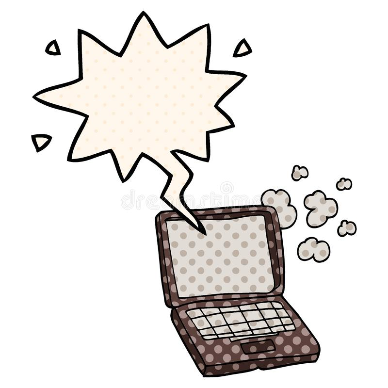 A creative cartoon laptop computer and speech bubble in comic book style royalty free illustration
