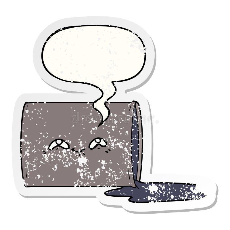 A creative cartoon oil drum and speech bubble distressed sticker. An original creative cartoon oil drum and speech bubble distressed sticker royalty free illustration