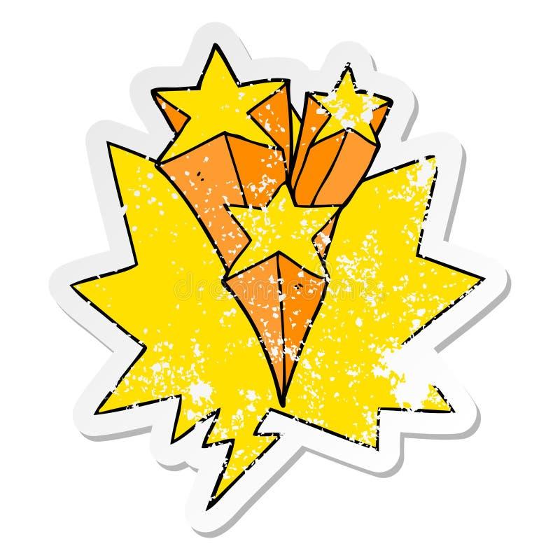 A creative cartoon shooting stars and speech bubble distressed sticker. An original creative cartoon shooting stars and speech bubble distressed sticker royalty free illustration