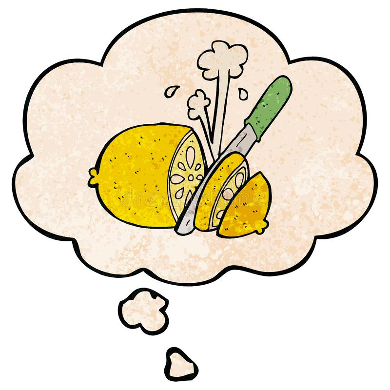 A creative cartoon sliced lemon and thought bubble in grunge texture pattern style royalty free illustration