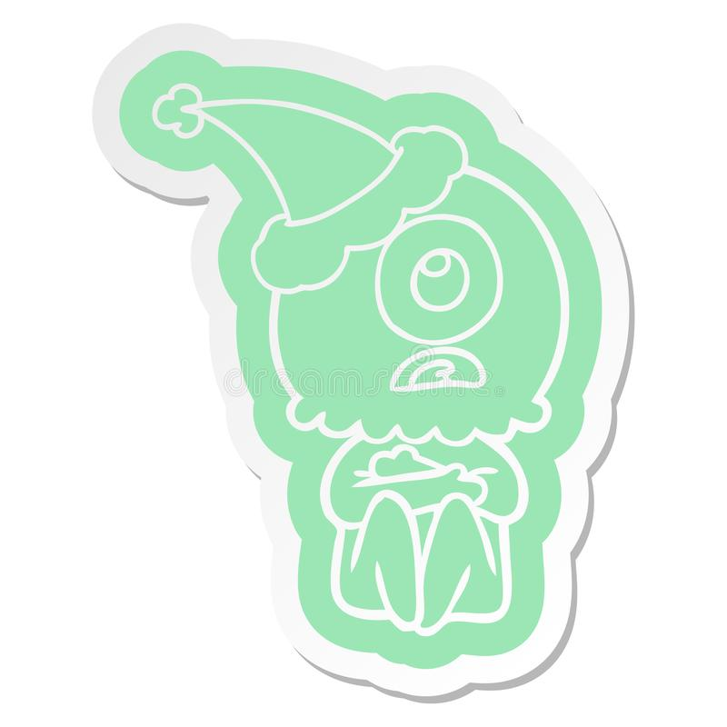 A creative cartoon  sticker of a cyclops alien spaceman wearing santa hat. An original creative cartoon  sticker of a cyclops alien spaceman wearing santa hat vector illustration