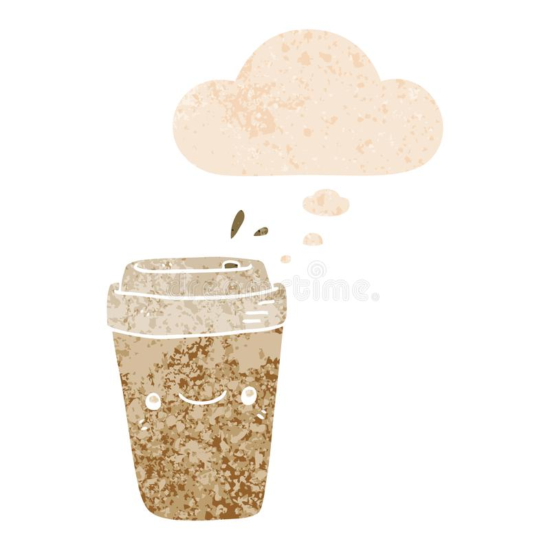 A creative cartoon takeaway coffee and thought bubble in retro textured style royalty free illustration