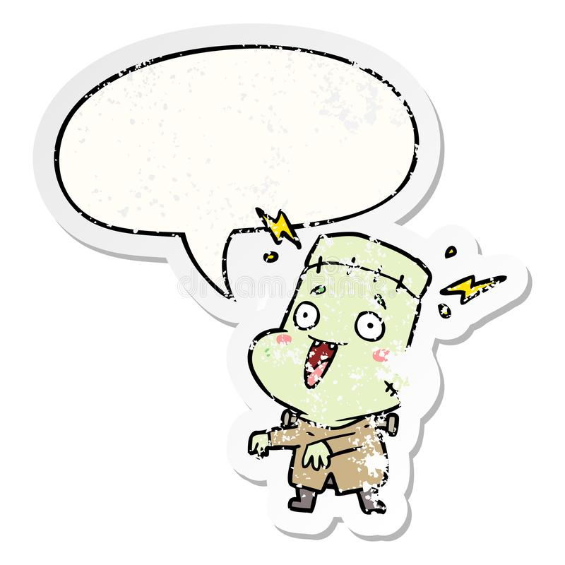A creative cartoon undead monster creation man and speech bubble distressed sticker. An original creative cartoon undead monster creation man and speech bubble vector illustration