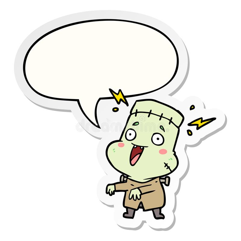 A creative cartoon undead monster creation man and speech bubble sticker. An original creative cartoon undead monster creation man and speech bubble sticker vector illustration
