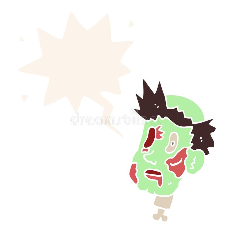 A creative cartoon zombie head and speech bubble in retro style vector illustration