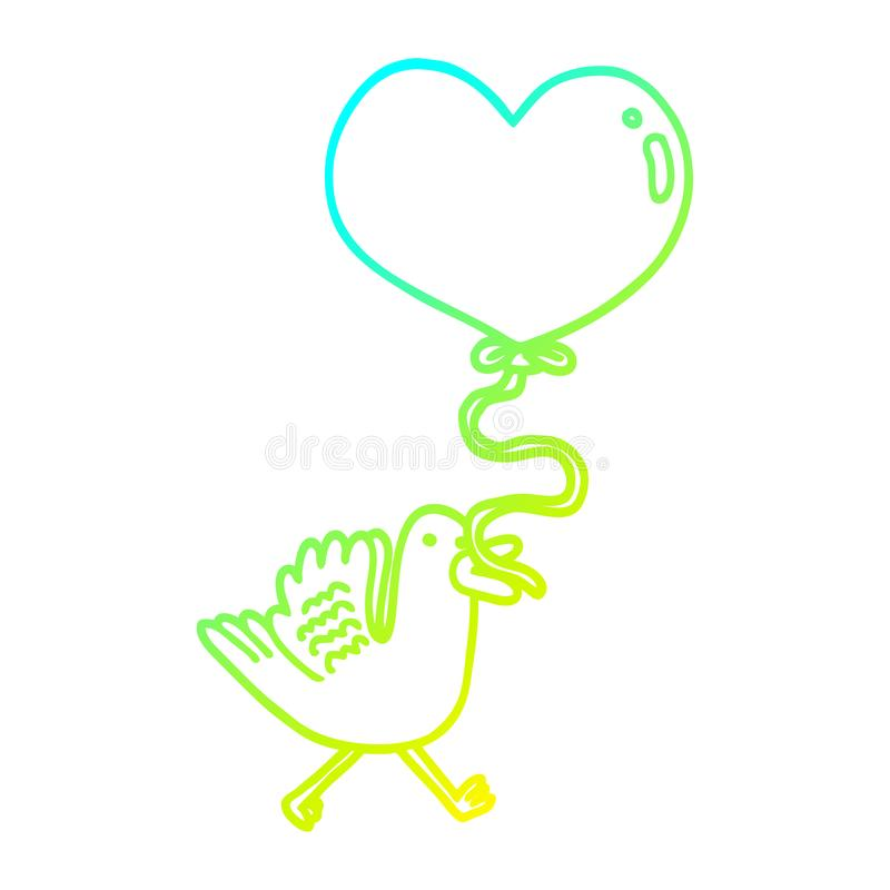 A creative cold gradient line drawing cartoon bird with heart balloon. An original creative cold gradient line drawing cartoon bird with heart balloon vector illustration