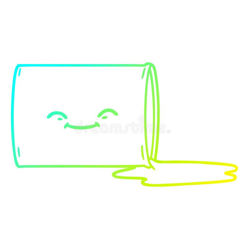 A creative cold gradient line drawing cartoon happy oil drum. An original creative cold gradient line drawing cartoon happy oil drum royalty free illustration