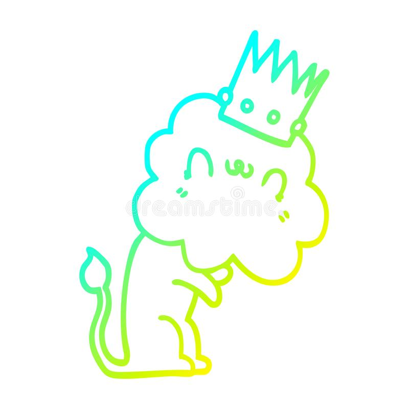 Lion Crown Animals King Zoo Cute Cartoon Cold Line Gradient