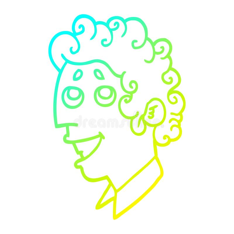 A creative cold gradient line drawing cartoon man face. An original creative cold gradient line drawing cartoon man face royalty free illustration