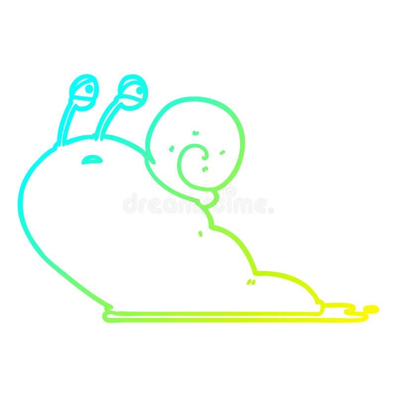 A creative cold gradient line drawing cartoon slug. An original creative cold gradient line drawing cartoon slug stock illustration
