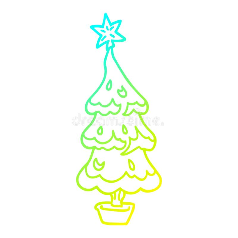 A creative cold gradient line drawing cartoon snowy christmas tree royalty free illustration