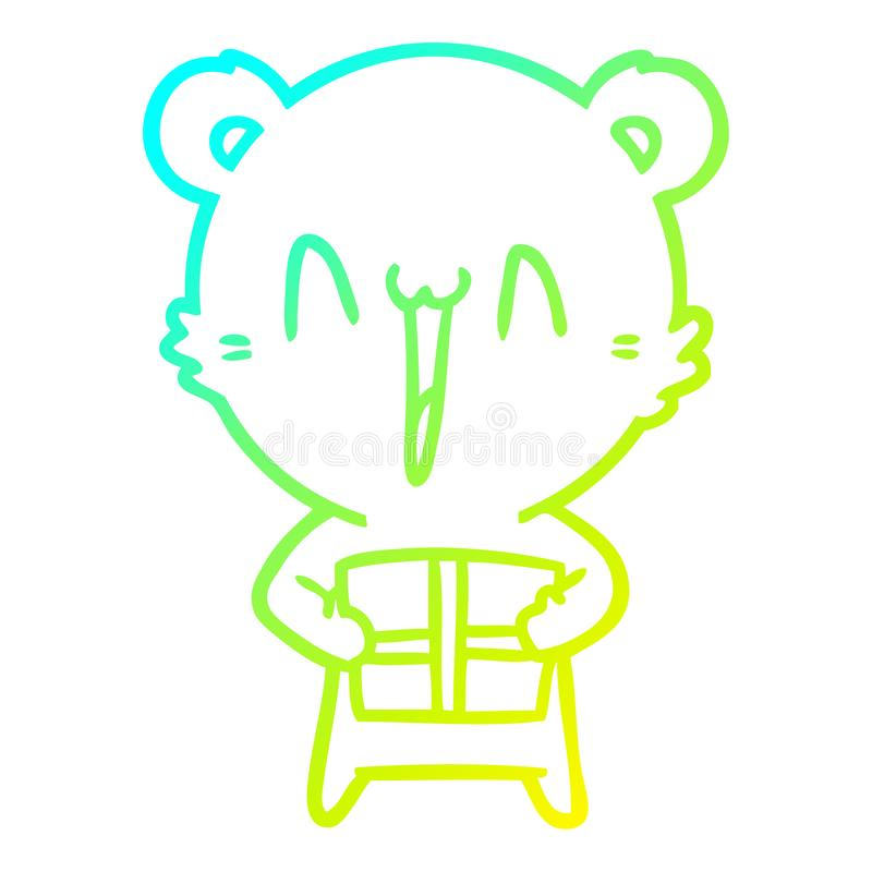 A creative cold gradient line drawing happy bear with gift cartoon. An original creative cold gradient line drawing happy bear with gift cartoon royalty free illustration