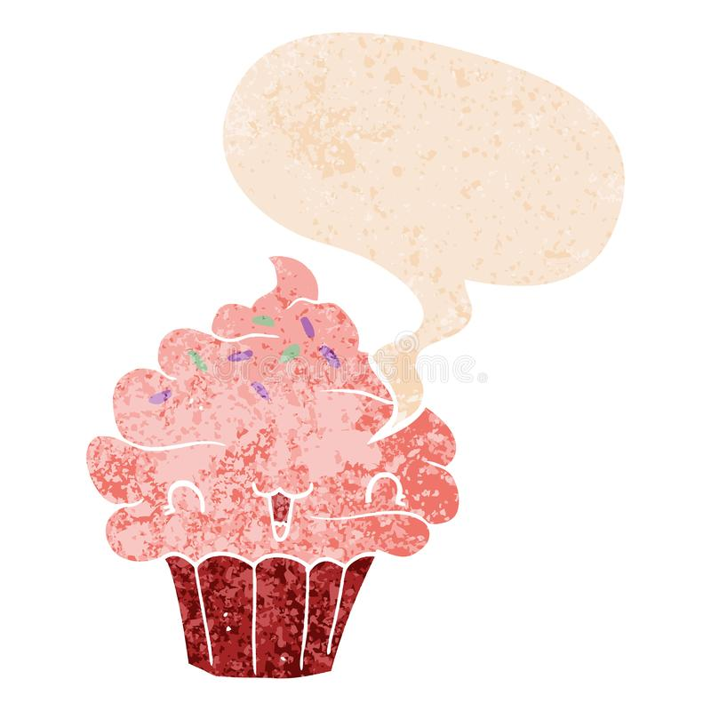 A creative cute cartoon frosted cupcake and speech bubble in retro textured style royalty free illustration