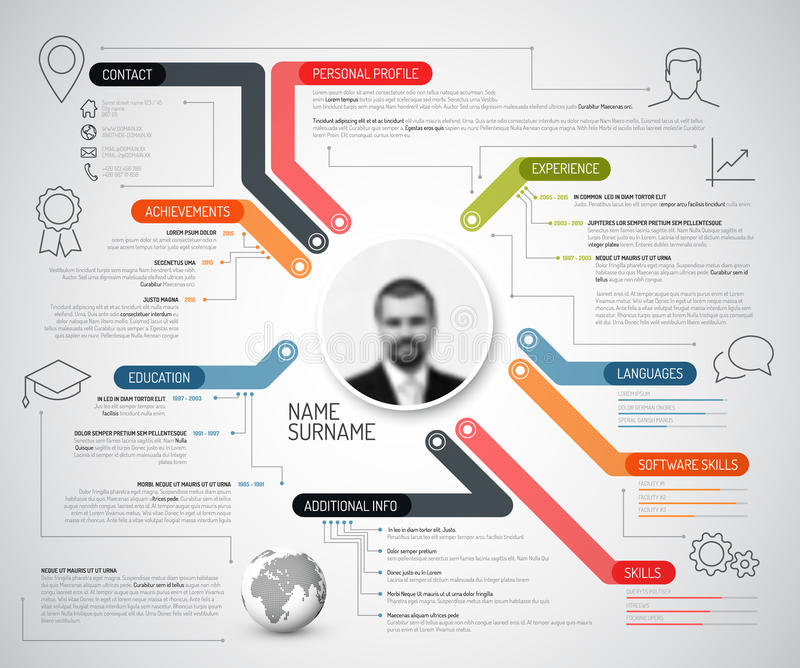Original creative cv / resume template. Vector original cv / resume template - creative version with colorful headings, lines and icons royalty free illustration