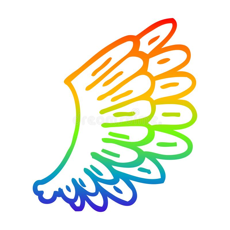 A creative rainbow gradient line drawing cartoon angel wings. An original creative rainbow gradient line drawing cartoon angel wings vector illustration
